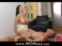 Busty mom blows and gets her pussy drilled from behind