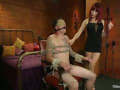 Sexy redhead tranny Eva Lin fucks Jonny Blaze's ass and enjoys it