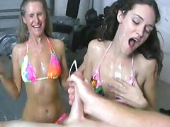 Old and Young, Bikini, Blowjob, Brunette, Cumshot, Ffm