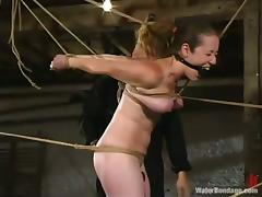 Tied up Jade Marxxx gets toyed deep under the running water