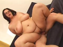 Amateur BBW with Glasses and Huge Boobs enjoys Fucking