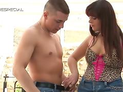 Busty MILF Carmen Collens Playing with Cock and Pump Outdoors