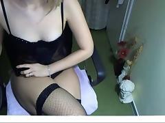 Slim girl masturbates