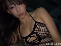 Busty Japanese in fishnet bodysuit gets fucked in POV