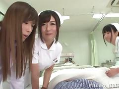 Three sexy Japanese nurses ride a dick in POV video