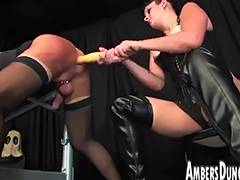 Femdom Goddess Lux anal dilling thong on and milking of male pig