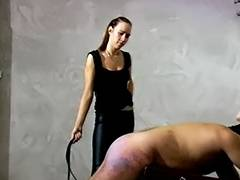 Femdom hard beating from 2 dominas