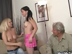 Dad, Girlfriend, Lesbian, Riding, Old and Young, Dad