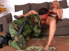 Army, Army, Babe, Blonde, Blowjob, Costume