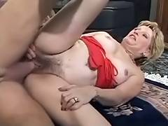 Sexy Golden Haired Granny Team Fucked by 2