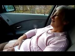 Granny masturbating and orgasm on car