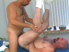 Bald hunks having raw sex