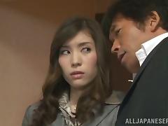 Naughty Secretary Yuri Ashina Having Sex int he Office with Her Coat On