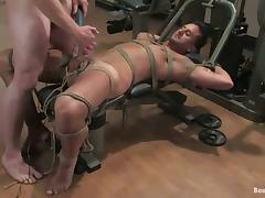 Bondage Action in Gay BDSM Sex Video in the Gym and Locker Room
