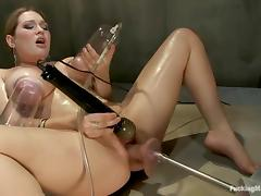Cassandra Calogera gets her meaty pussy fucked hard by a sex machine