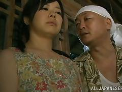Japanese country girl gets fucked by an older man in a shed porn video