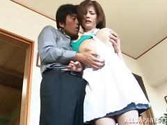 Japanese wife gets her vag licked and pounded by her horny husband