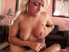 London Giana sucks and rubs a dick and gets cum on her lips