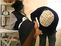 Sexy ebony maid fucked hard in threesome sex