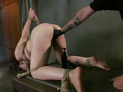Elizabeth Thorn gets her ass beaten and her pussy fingered and toyed