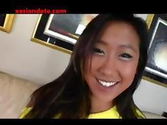 Cute Asian girl fucks and sucks a big cock and gets a nice facial