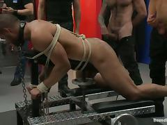Spencer Reed gets bound and fucked by a few gays in BDSM scene