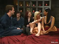 Pegging and Torturing in Femdom Foursome with Lorelei Lee and Mika Tan