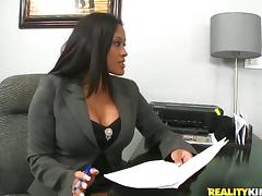 Slender Maxine gets her pussy torn up in an office