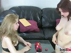 Amateur girls play stripping game