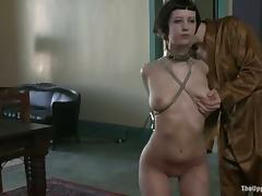 Her hands are handcuffed from behind and she is naked porn video