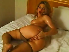 Bedroom, Babe, Bedroom, Blonde, Masturbation, Oil