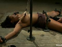 Toying the Cunt of Firm Boobed Ebony Mia Stiletto in Bondage Vid