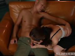 Nice Miu Nagino gives an amazing blowjob to her man