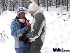 Anastasia licking pussy with Jasmine on a snowy winters day
