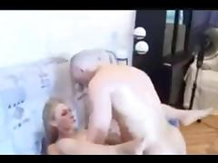 Russian couple is engaged in an active sex