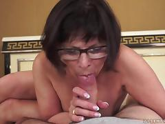 Lewd granny toys her hairy cunt before getting it pounded hard porn video