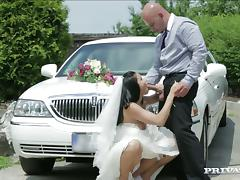 Bride, Blowjob, Bra, Bride, Car, Couple