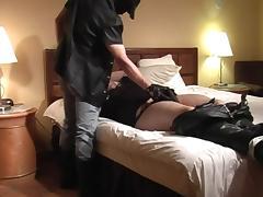 Horny latex wearing slud gets cock sucked