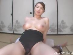 Busty Japanese chick Mio Takahashi enjoys riding and sucking a cock