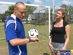 Sexy babe dates a soccer player and he scores a goal today