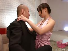 Hot Asian Wife Chihiro Akino Giving a Blowjob to Her man