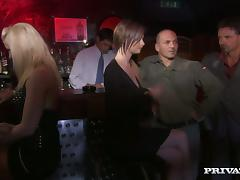 Orgy video with stunning girls having sex in a club