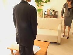 Boss fucking his secretary's wet cunt in japanese sex movie