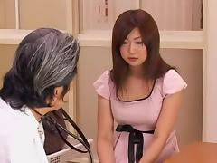 Big booty Japanese whore fingered during medical exam