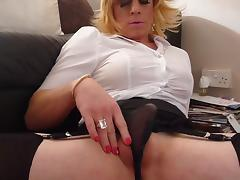 holly fills her knickers with cum