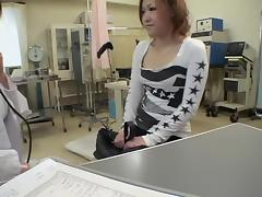 Japanese hottie dildoed hard during her pussy exam