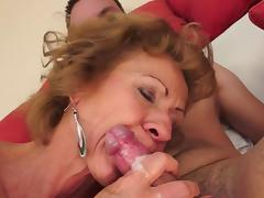 Old and Young, Bedroom, Blonde, Blowjob, Cumshot, Granny
