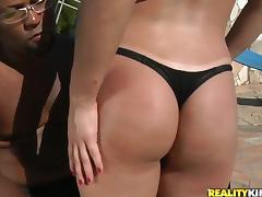 Anal Interracial Sex by the Pool with Brunette Camille Campos
