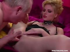 Dominica Leoni licks a cock before taking it in her vag and ass