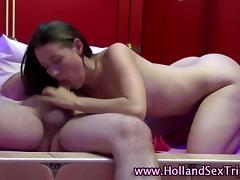 Real Dutch whore fucks 2 old men